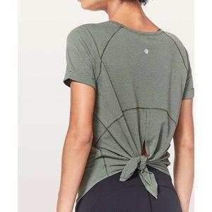 Lululemon Open Up Tie Back Tee Heathered Green